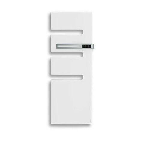 Sèche-serviettes connecté soufflant Serenis - Mât à gauche - 500+1000W - Blanc mat