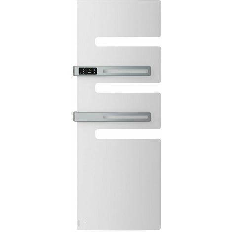Sèche-serviettes connecté soufflant Serenis Premium - Mât à gauche - 750+1000W - Blanc mat
