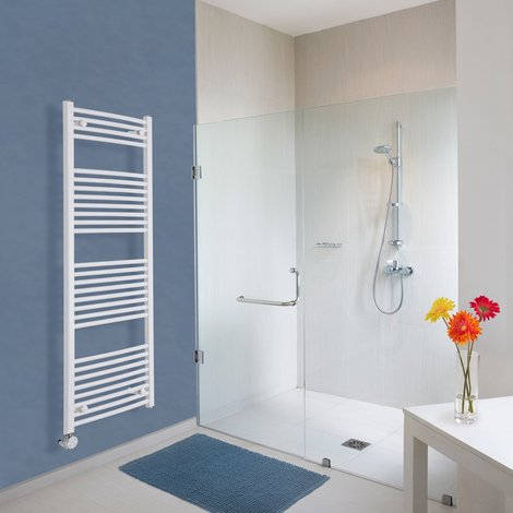 Sèche-Serviettes Design Électrique – Blanc – 150 x 50cm Incurvé – Etna