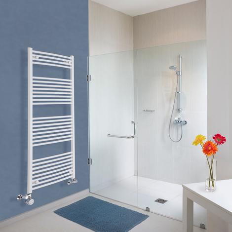 Sèche-Serviettes Design Électrique – Blanc – 150 x 60cm Incurvé – Etna