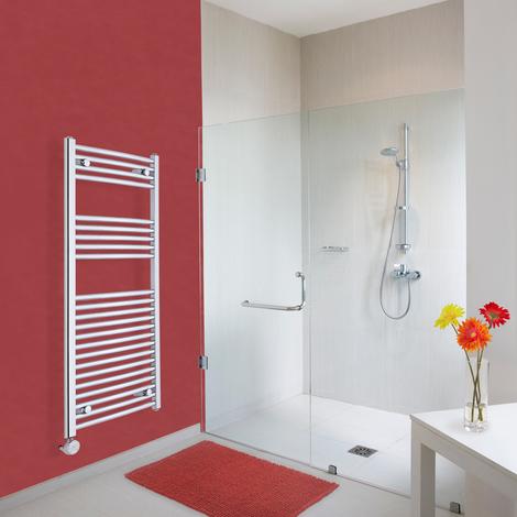 Sèche-Serviettes Design Électrique – Chrome – 120 x 50cm Incurvé – Ischia