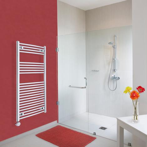 Sèche-Serviettes Design Électrique – Chrome – 120 x 60cm Incurvé – Ischia