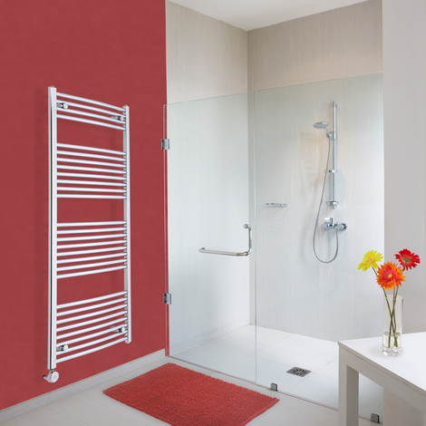 Sèche-Serviettes Design Électrique – Chrome – 150 x 60cm Incurvé – Ischia