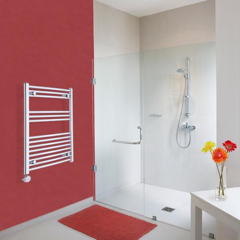Sèche-Serviettes Design Électrique – Chrome – 80 x 60cm Incurvé – Ischia