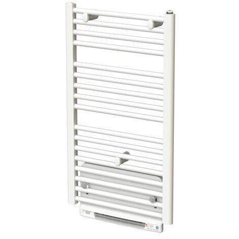Sèche-serviettes eau chaude acier TAHITI Blanc 866W + Soufflant Speed'Air
