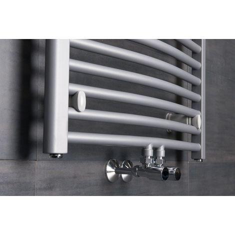 Sèche-serviettes eau chaude Karlskrona - 562 W - 1186 x 600 - Incurvé - Argent