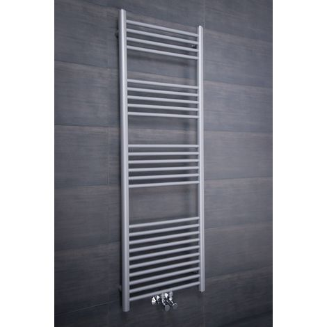 Sèche-serviettes eau chaude Nassjo - 504 W -1450 x 500 - Droit - Argent