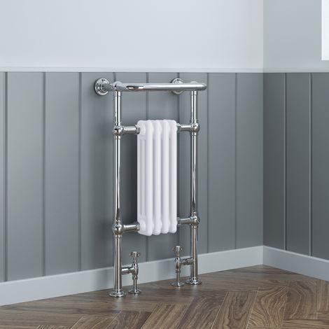 Sèche-serviettes eau chaude Traditionel Salzburg Victorien 627W - 940 x 659mm - Chrome & Blanc