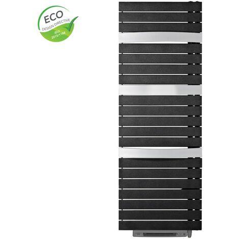 Sèche-serviettes électrique Silay RF T Smart - 1000W + 1000W - avec soufflerie - Pivotant à droite - Métal black et Alu