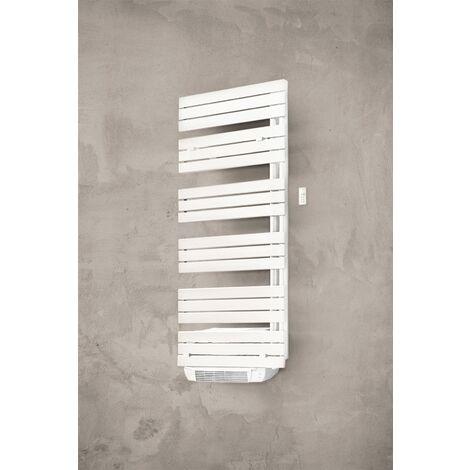 Sèche-serviettes lames droite - Electrique + Soufflerie - DOMAO 200 - Hauteur : 1520 mm - Largeur : 600 mm -Puissance (W) : 700 + 1000 - Nr element : 15 - Blanc