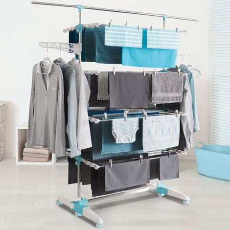 Séchoir à linge blanc/bleu 4 niveaux réglables XXL + barre télescopique