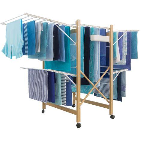 Séchoir à linge Deluxe design imitation bois étendoir extensible pliable