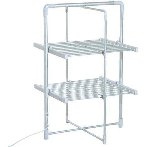 Séchoir à linge étendoir à linge électrique chauffant pliable 2 niveaux 200 W 50-55° C aluminium - Gris