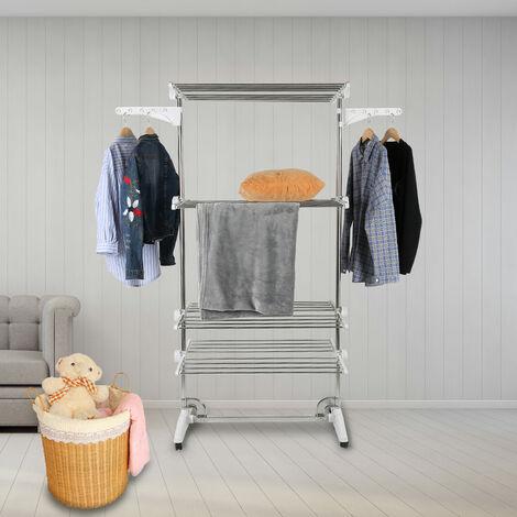 Séchoir à Linge Étendoir sur Pied Pliable Réglable Intérieur / Extérieur Sèche-linge Porte-vêtements