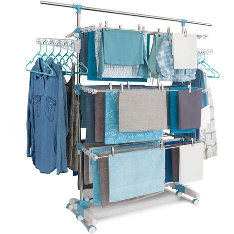 Séchoir à linge modulable blanc/bleu grande capacité + 30 accessoires