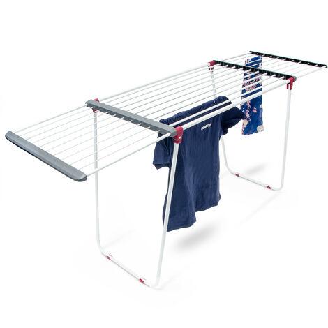Séchoir à linge sur pied rétractable pour usage intérieur extérieur étendoir à vêtements avec rallonges, blanc et gris