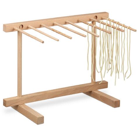 Séchoir à pâtes, bois, 8 bras, sécher de manière peu encombrante, pliable, HLP 29,5 x 40 x 28 cm, nature