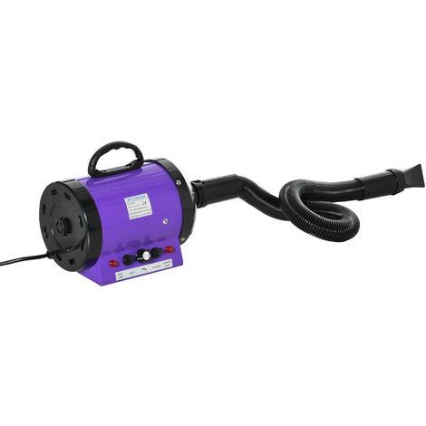 Séchoir sèche-poils toilettage professionnel pour chien chat animaux 2800 W température + vitesse réglable rose fuchsia noir