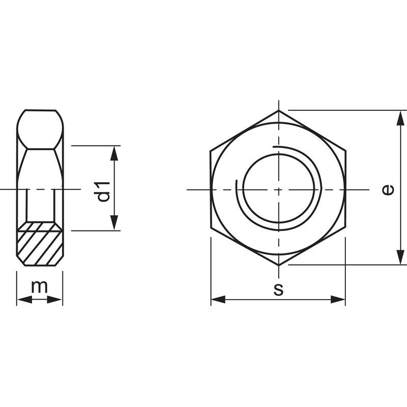 12-42 mm 2 Stk DIN 439 Sechskantmuttern flach Feingewinde 1,5 Stahl