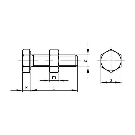 Sechskantschrauben M12x75 Stahl feuerverzinkt 8.8 ISO4017/4032 mit Mutter 50 Stk