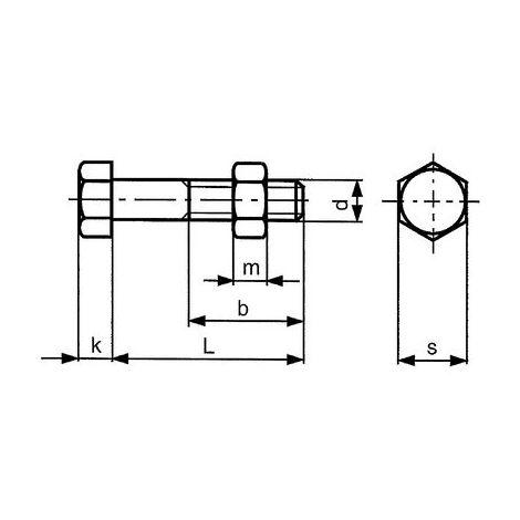 Sechskantschrauben M16x65 Stahl feuerverzinkt 8.8 ISO4014/4032 mit Mutter 25 Stk