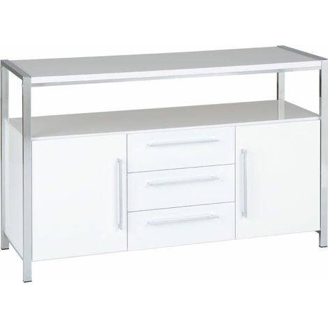 """main image of """"Seconique Charisma 2 Door 3 Drawer Sideboard White Gloss and Chrome"""""""