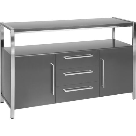"""main image of """"Seconique Charisma Grey Gloss & Chrome Sideboard"""""""