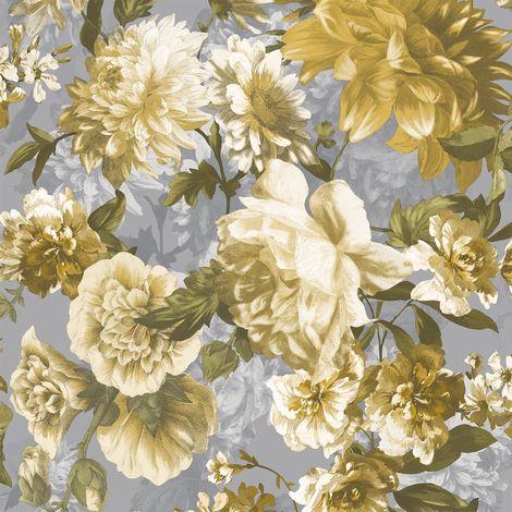 Secret Garden Floral Yellow Green Grey Wallpaper Flowers Roses Textured Grandeco