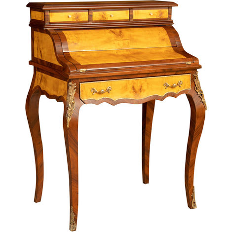 Secretaire desk in wood veneered walnut finish enriched with special inlays entirely handmade