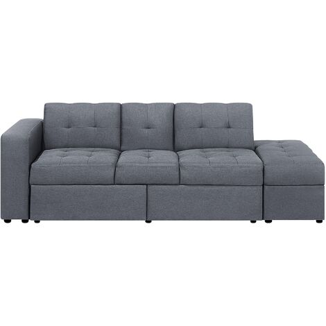 Sectional Sofa Bed with Ottoman Dark Grey FALSTER