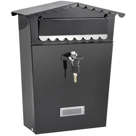 Secure Lock Steel Wall Mounted Letter Post Box with Two Keys, with Outward Opening Letter Collection Mail Flap