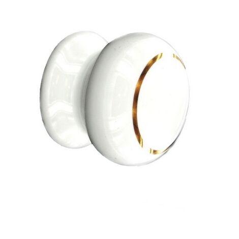 "main image of ""Securit S3579 Ceramic Cupboard Knob White / Goldline 35mm Pack Of 2"""