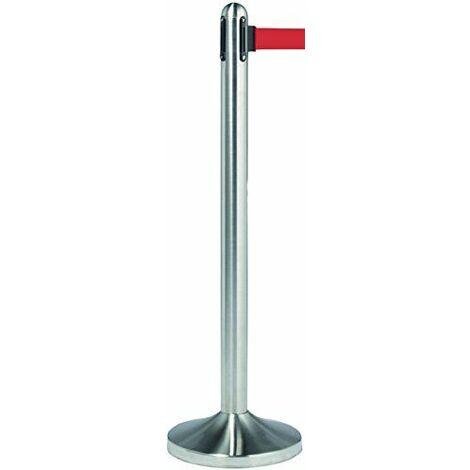 Securit Tableau noir rétractable Barrière Post avec ruban en nylon rouge–en acier inoxydable–Toile 100cm (Ruban adhésif 210cm), base 31x 31cm, en acier inoxydable/Rouge
