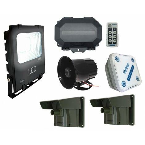 Security Light & Siren Long Range Driveway PIR Alarm with Outdoor & Indoor Receivers [004-5250]