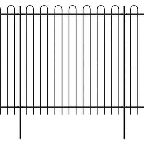 Security Palisade Fence with Hoop Top Steel 600x200 cm Black