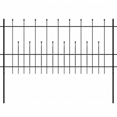 Security Palisade Fence with Pointed Top Steel 600x100 cm Black