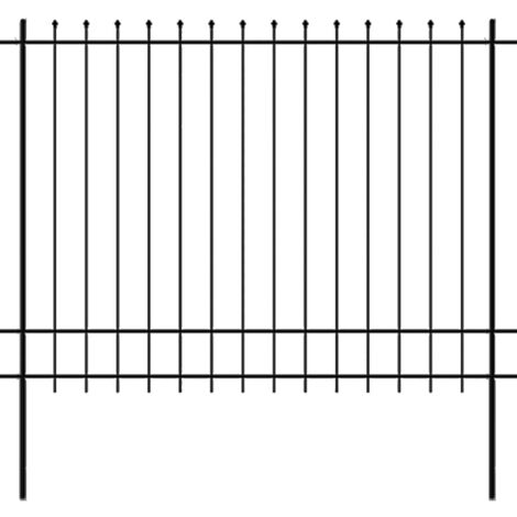 Security Palisade Fence with Pointed Top Steel 600x175 cm Black