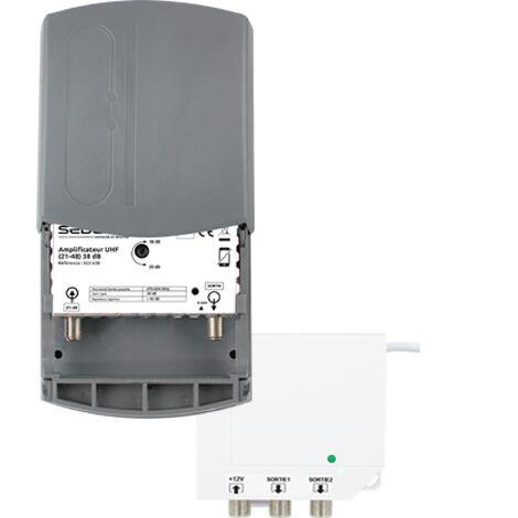 SEDEA Kit amplificateur TNT 35 dB + alimentation 12 Volts 2 sorties Canaux 21-48