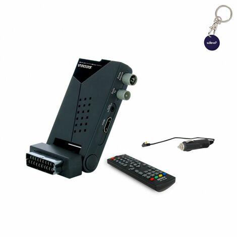 SEDEA Mini récepteur TV Terrestre TNT HD Compact + Câble 12V pour Camping car - Gris