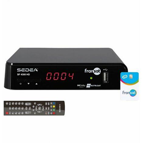 SEDEA Récepteur satellite FRANSAT SF4300HD + Carte FRANSAT PC6 décodeur tv sat READY TIMESHIFT - Noir