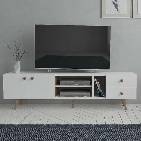 Sedef Mueble TV Moderno - con puertas, estantes - de Salotto - Blanco, Roble en Madera, 160 x 30 x 45 cm
