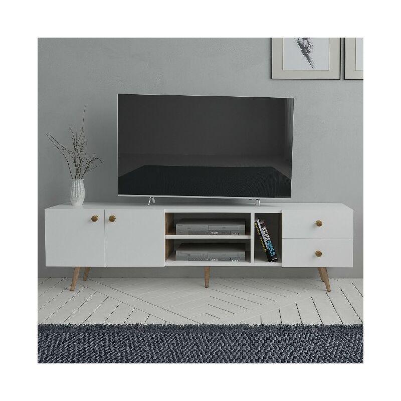 Sedef TV-Schrank Modern - mit Tueren, Regalen - von Salotto - Weiss, Eiche aus Holz, 160 x 30 x 45 cm