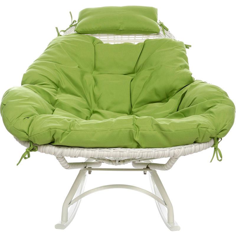 Sedia A Dondolo Basculante.Sedia In Legno Con Cuscino Da 82x88x110 Cm Verde