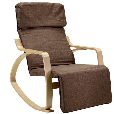 Sedia A Dondolo Tessuto.Sedia A Dondolo In Tessuto E Legno Con Cuscino E Poggiapiedi
