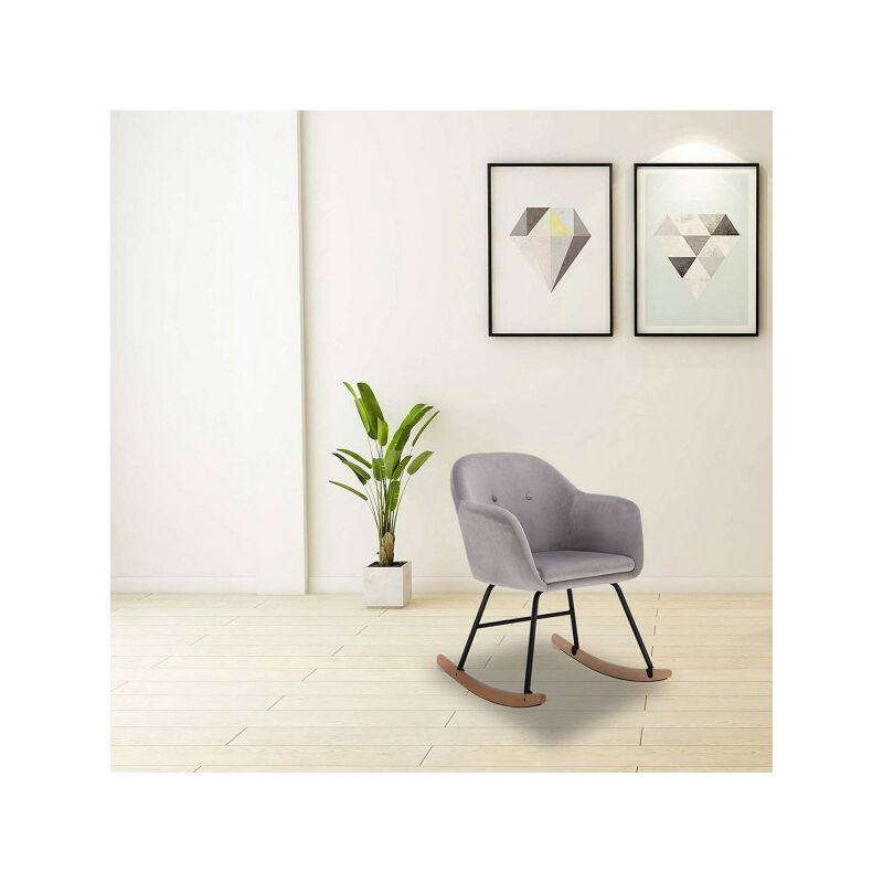 Mercatoxl - Sedia a dondolo poltrona di velluto e grigio chiaro in legno massello di relax