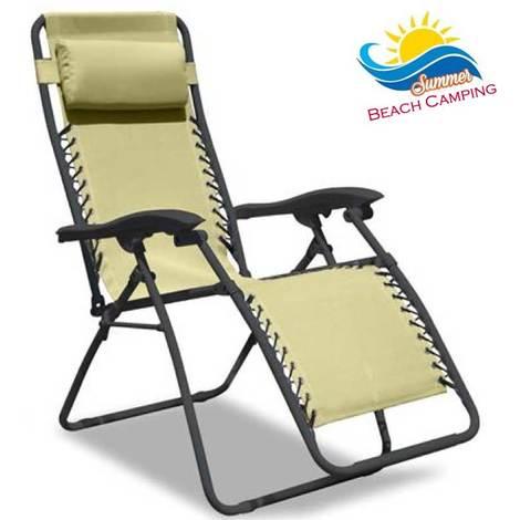Sdraio Pieghevole Relax.Sedia A Sdraio Pieghevole Relax Intrecciata Con Poggiapiedi E Poggiatesta Ecru