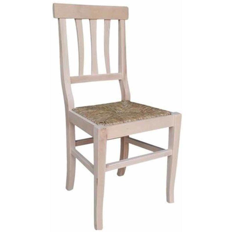 Sedia Arte Povera in legno Massello con seduta in paglia ...