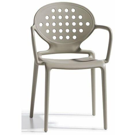 Sedia con braccioli colette, impilabile, adatta anche per esterno e disponibile in diverse finiture