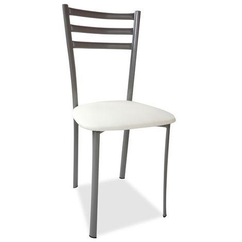 Sedia con struttura in metallo e seduta in ecopelle bianca 41x43xh.89 cm