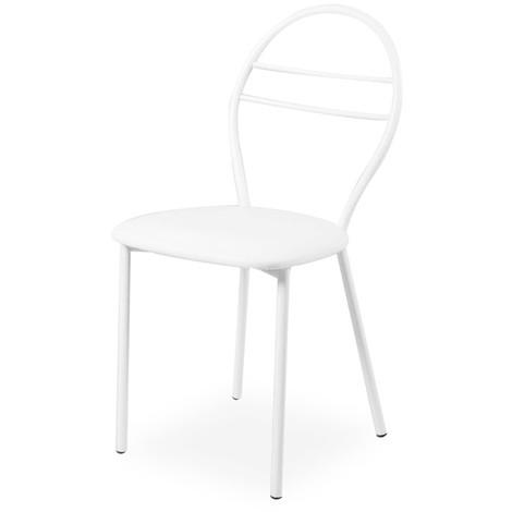 Sedia con struttura in metallo e seduta in ecopelle bianca 41x55xh.90 cm
